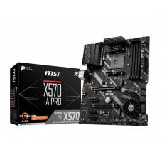 Mainboard MSI AMD X570 SAM4 ATX 3xPCI-Express 1x 1xPCI-Express 4x 1xPCI-Express 16x 2xM.2 Memory DDR4 Memory slots 4 1xHDMI 2xUSB 2.0 1xUSB type C 5xUSB 3.2 1xPS/2 1xOptical S/PDIF 1xRJ45 5xAudio port X570-APRO