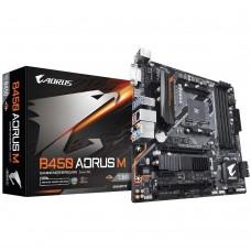 Mainboard|GIGABYTE|AMD B450|SAM4|MicroATX|1xPCI-Express 1x|2xPCI-Express 16x|1xM.2|Memory DDR4|Memory slots 4|1xDVI|1xHDMI|2xUSB 2.0|6xUSB 3.1|1xPS/2|1xRJ45|6xAudio port|B450AORUSM