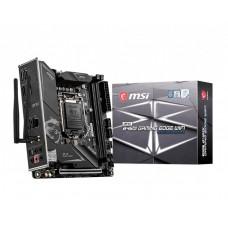 Mainboard MSI Intel B460 Express LGA1200 MiniITX 1xPCI-Express 3.0 16x 2xM.2 Memory DDR4 Memory slots 2 1xHDMI 1xDisplayPort 2xAudio-In 3xAudio-Out 2xUSB 2.0 1xUSB type C 3xUSB 3.2 1xOptical S/PDIF 1xRJ45 2xRF-Out MPGB460IGAMEDGEWIFI