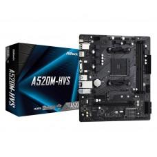 Mainboard|ASROCK|AMD A520|SAM4|MicroATX|1xPCI-Express 3.0 1x|1xPCI-Express 3.0 16x|1xM.2|Memory DDR4|Memory slots 2|1x15pin D-sub|1xHDMI|2xAudio-In|1xAudio-Out|2xUSB 2.0|4xUSB 3.2|1xPS/2|1xRJ45|A520M-HVS