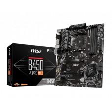 Mainboard|MSI|AMD B450|SAM4|ATX|4xPCI-Express 1x|2xPCI-Express 16x|1xM.2|Memory DDR4|Memory slots 4|1x15pin D-sub|1xDVI|1xHDMI|2xUSB 2.0|4xUSB 3.2|1xPS/2|1xRJ45|6xAudio port|B450-APROMAX