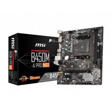 Mainboard|MSI|AMD B450|SAM4|MicroATX|1xPCI-Express 1x|1xPCI-Express 16x|1xM.2|Memory DDR4|Memory slots 2|1xDVI|1xHDMI|2xUSB 2.0|4xUSB 3.2|2xPS/2|1xRJ45|3xAudio port|B450M-APROMAX