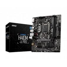 Mainboard|MSI|Intel H410 Express|LGA1200|MicroATX|1xPCI-Express 3.0 1x|1xPCI-Express 3.0 16x|1xM.2|Memory DDR4|Memory slots 2|1xDVI|1xHDMI|4xUSB 2.0|2xUSB 3.2|1xPS/2|1xRJ45|3xAudio port|H410M-APRO