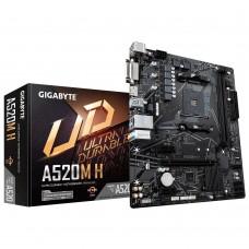 Mainboard|GIGABYTE|AMD A520|SAM4|MicroATX|2xPCI-Express 3.0 1x|1xPCI-Express 3.0 16x|Memory DDR4|Memory slots 2|1xDVI|1xHDMI|1xAudio-In|2xAudio-Out|2xUSB 2.0|4xUSB 3.2|1xPS/2|1xRJ45|A520MH