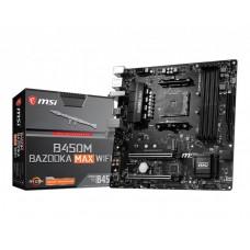 Mainboard|MSI|AMD B450|SAM4|MicroATX|1xPCI-Express 2.0 16x|1xPCI-Express 3.0 16x|1xM.2|Memory DDR4|Memory slots 4|4xUSB 2.0|4xUSB 3.2|1xPS/2|1xRJ45|3xAudio port|B450MBAZOOKAMAXWIFI