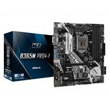 Mainboard|ASROCK|Intel B365 Express|LGA1151|MicroATX|1xPCI-Express 3.0 1x|2xPCI-Express 3.0 16x|1xM.2|Memory DDR4|Memory slots 4|1x15pin D-sub|1xDVI|1xHDMI|2xUSB 2.0|1xUSB type C|4xUSB 3.2|1xPS/2|1xRJ45|3xAudio port|B365MPRO4-F