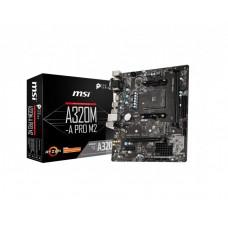 Mainboard|MSI|AMD A320|SAM4|MicroATX|1xPCI-Express 2.0 1x|1xPCI-Express 3.0 16x|1xM.2|Memory DDR4|Memory slots 2|1x15pin D-sub|1xDVI|1xHDMI|1xAudio-In|1xAudio-Out|1xMicrophone|2xUSB 2.0|4xUSB 3.1|2xPS/2|1xRJ45|A320M-APROM2