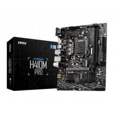 Mainboard|MSI|Intel H410 Express|LGA1200|MicroATX|1xPCI-Express 3.0 1x|1xPCI-Express 3.0 16x|2xM.2|Memory DDR4|Memory slots 2|1x15pin D-sub|1xDVI|1xHDMI|2xAudio-In|1xAudio-Out|4xUSB 2.0|2xUSB 3.2|1xPS/2|1xRJ45|H410MPRO