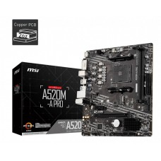 Mainboard|MSI|AMD A520|SAM4|MicroATX|1xPCI-Express 3.0 1x|1xPCI-Express 3.0 16x|1xM.2|Memory DDR4|Memory slots 2|1xDVI|1xHDMI|2xAudio-Out|2xUSB 2.0|4xUSB 3.2|1xRJ45|A520M-APRO