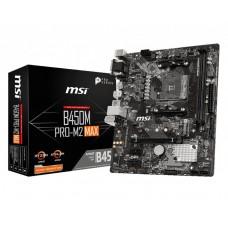 Mainboard|MSI|AMD B450|SAM4|MicroATX|2xPCI-Express 2.0 1x|1xPCI-Express 3.0 16x|1xM.2|Memory DDR4|Memory slots 2|1x15pin D-sub|1xDVI|1xHDMI|1xAudio-In|1xAudio-Out|1xMicrophone|2xUSB 2.0|4xUSB 3.2|2xPS/2|1xRJ45|B450MPRO-M2MAX
