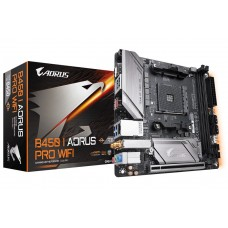 Mainboard|GIGABYTE|AMD B450|SAM4|MiniITX|1xPCI-Express 16x|1xM.2|Memory DDR4|Memory slots 2|2xHDMI|1xDisplayPort|1xAudio-In|1xAudio-Out|1xMicrophone|6xUSB 3.1|1xRJ45|B450IAORUSPROWIFI