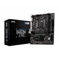 Mainboard|MSI|Intel B460 Express|LGA1200|MicroATX|2xPCI-Express 3.0 1x|1xPCI-Express 3.0 16x|1xM.2|Memory DDR4|Memory slots 2|1xDVI|1xHDMI|2xUSB 2.0|4xUSB 3.2|1xPS/2|1xRJ45|3xAudio port|B460M-APRO