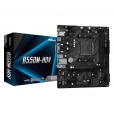 Mainboard|ASROCK|AMD B550|SAM4|MicroATX|1xPCI-Express 3.0 1x|1xM.2|1xPCI-Express 4.0 16x|Memory DDR4|Memory slots 2|1x15pin D-sub|1xDVI|1xHDMI|2xUSB 2.0|4xUSB 3.2|1xPS/2|1xRJ45|3xAudio port|B550M-HDV